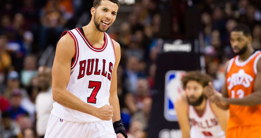 CLEVELAND, OH - JANUARY 4: Michael Carter-Williams #7 of the Chicago Bulls celebrates after scoring during the second half against the Cleveland Cavaliers at Quicken Loans Arena on January 4, 2017 in Cleveland, Ohio. The Bulls defeated the Cavaliers 106-94. NOTE TO USER: User expressly acknowledges and agrees that, by downloading and/or using this photograph, user is consenting to the terms and conditions of the Getty Images License Agreement. Mandatory copyright notice. (Photo by Jason Miller/Getty Images)