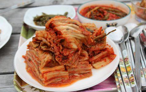 Plate of Napa cabbage kimchi.
