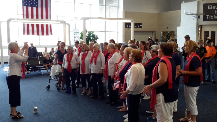 An honor flight event in which we sang to veterans