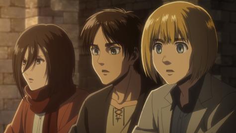 Mikasa (left), Eren (middle), and Armin (right)  Photo from  https://attackontitan.fandom.com/wiki/Mikasa_Ackermann_(Anime)